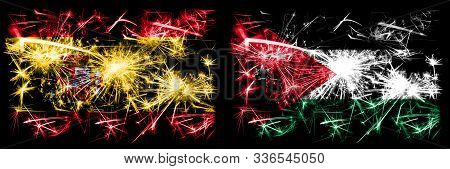 Spanish Vs Jordan, Jordanian New Year Celebration Sparkling Fireworks Flags Concept Background. Comb