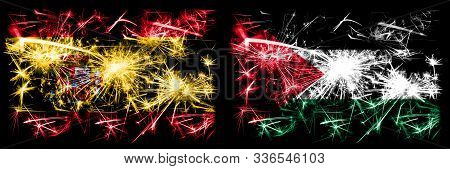 Spanish Vs Palestine, Palestinian New Year Celebration Sparkling Fireworks Flags Concept Background.