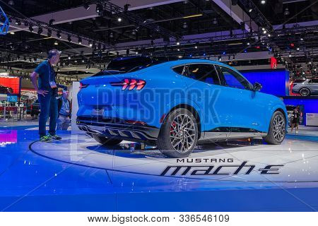 Ford Mustang Mach-e Suv On Display During Los Angeles Auto Show.