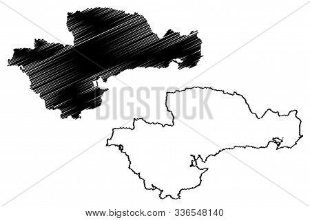 Waterford City And County Council (republic Of Ireland, Counties Of Ireland) Map Vector Illustration