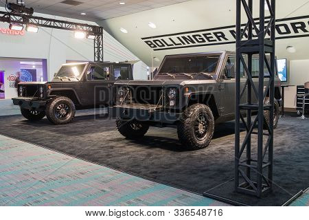 Bollinger B1 And B2 Electric Truck On Display During Los Angeles Auto Show.