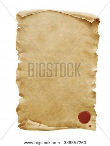 Red Wax Seal On Old Paper Manuscript Or Papyrus Scroll Vertically Oriented Isolated On White Backgro