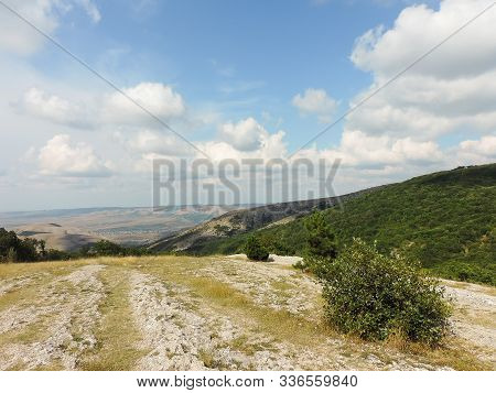 Landscape With Clouds Of The Crimean Mountains The Valley A Scope