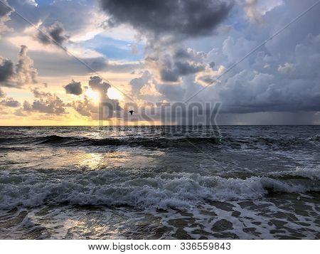 Stormy Sunrise On Florida Beach During Hurricane Season