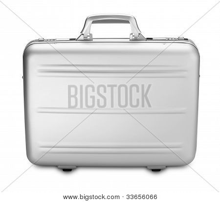 Modern Silver Briefcase Isolated On White (clipping Path)