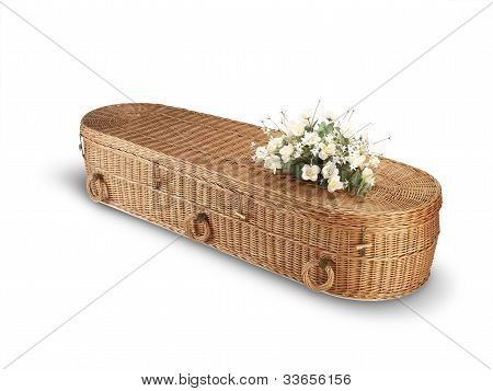 Wicker Bio-degradable Eco Coffin Isolated On White With Clipping Path