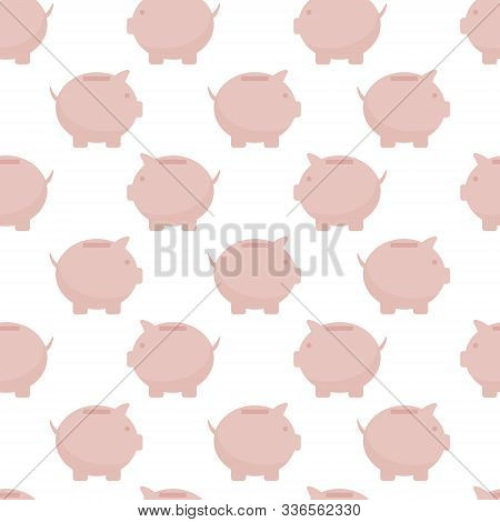 Seamless Pattern Of Pink Piggy Bank, Business Template. Flat Style