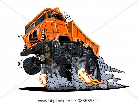 Cartoon 4x4 Muscle Truck Isolated On White Background. Available Eps-10 Vector Format Separated By G