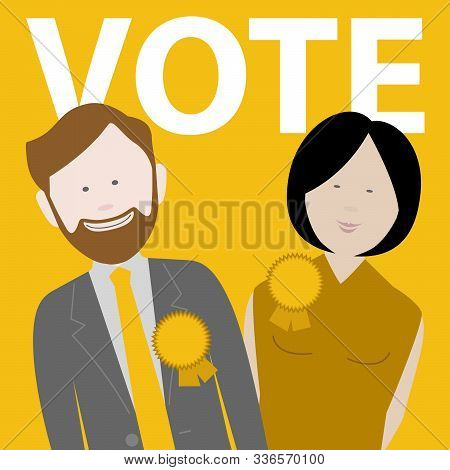 Two Political Candidates For The Uk Liberal Democrat Party. Eps File Available