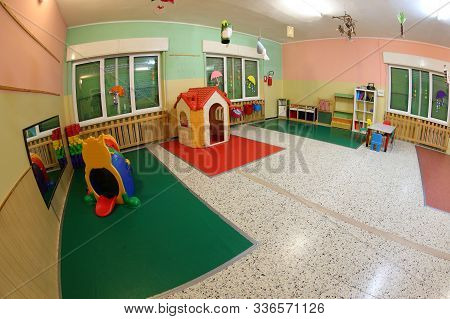 Wide Hall Of A Daycare Center Without Kids