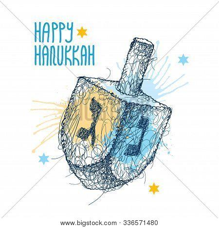 Vector Greeting With Chaos Scribble Hanukkah Or Hanuka Dreidel Or Sevivon With Hebrew Alphabet In Bl