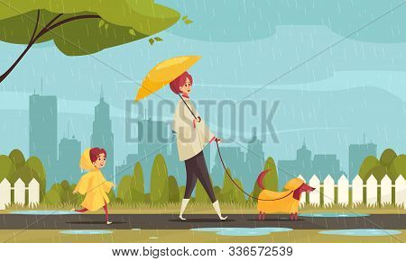 Walking Dog In Bad Weather Flat Composition With Mother Child Dachshund In Raincoats Cityscape Backg
