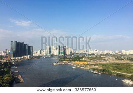 Saigon, Vietnam - Feb 13, 2019. Cityscape With The River Of Saigon, Vietnam. Ho Chi Minh City, Also