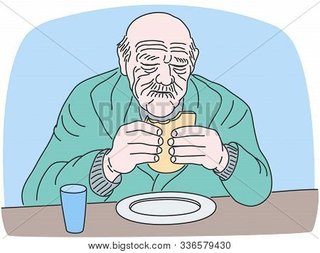 Vector Illustration Of Eating Meal Old Man. Elder Adult Male Person Sitting At The Table With Bread