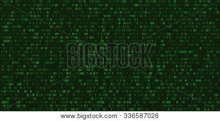 Matrix Abstract Background With Binary Numbers. Futuristic Green Background With Code Or Data, Vecto