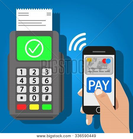 Vector Illustration Of Smartphone Pay. Terminal. Islated.