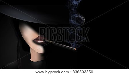Here Is A Young Girl Smoking A Cigarette To Illustrate Poor Choices Of Youngsters.