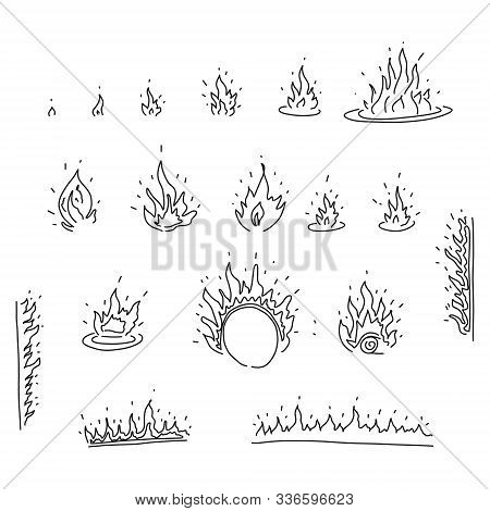 Bright Banner Sketch Set Hand Drawn Fire Flames. Depicted Small Flame Growing Gradually Into Large F