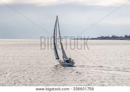 New Bedford, Massachusetts, Usa - November 15, 2019: Sailboat Va Pensiero, Hailing Port Boston, Mass