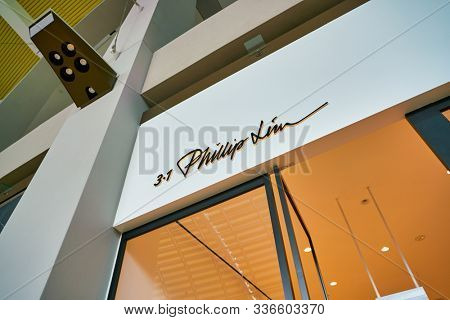 SINGAPORE - CIRCA APRIL, 2019: Phillip Lim sign seen in the Shoppes at Marina Bay Sands.