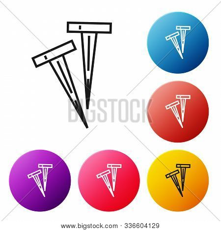 Black Line Pegs For Tents Icon Isolated On White Background. Extreme Sport. Sport Equipment. Set Ico