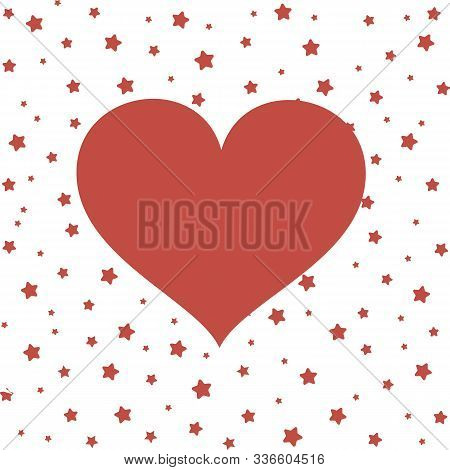 Red Love Heart On A White Background With Red Stars. Valentines Day, Illustration