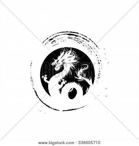 Legendary Golden Dragon In Brush Paint Japan Art Style For Logo Vector And Illustration