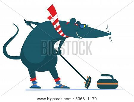 Rat Or Mouse Plays Curling Illustration. Cartoon Rat Or Mouse With A Curling Brush And A Stone Isola
