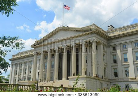 United States Treasury Building In Washington, District Of Columbia Dc, Usa. Treasury Building Is Th