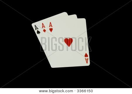Casino Poker Playing Cards, Three Aces