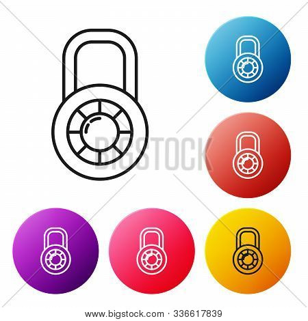 Black Line Safe Combination Lock Wheel Icon Isolated On White Background. Combination Padlock. Secur