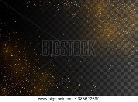The Dust Sparks And Golden Stars Shine With Special Light, Bokeh Effect. Vector Sparkles On A Transp