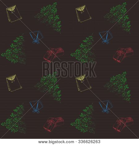 Christmas Pattern Of Christmas Trees And Gifts In The Technique Of Pointillism