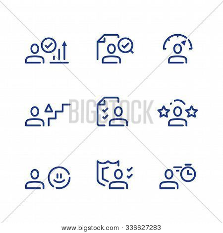 Performance Evaluation, Kpi Concept, Personal Growth, Skills Development, Vector Line Icon Set