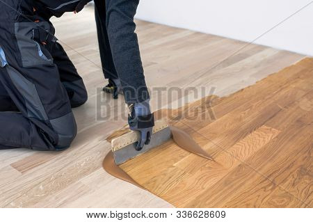 Carpenter Master With Gloves Grouting Wooden Parquet, Phase After Sanding. Varnishing Of Oak Parquet
