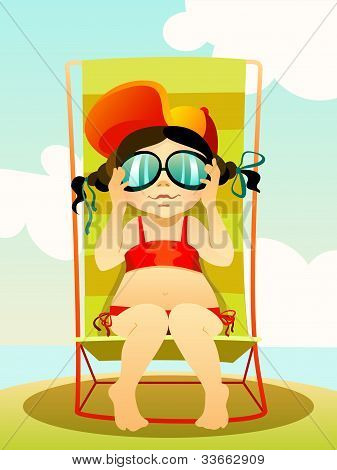 Young Girl In Sunglasses On A Beach
