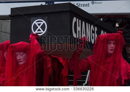 Vancouver, Canada - November 29, 2019: A Group Extinction Rebellion Is Hosting A Funeral For Extinct