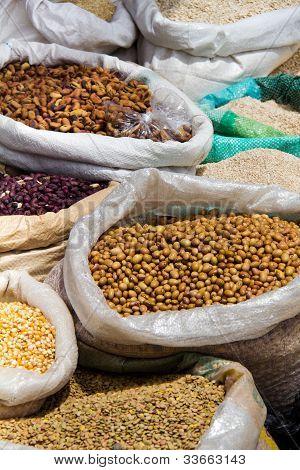 Closeup Of Bags Of Grain At Outdoor Market