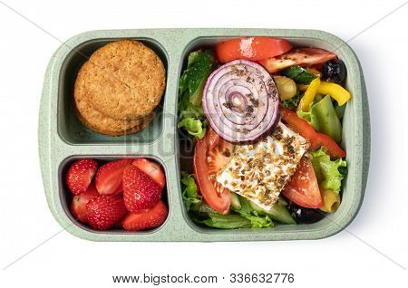 Lunch box with delicious food isolated on a white background