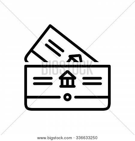 Black Line Icon For Bankbook Account Deposit Passbook