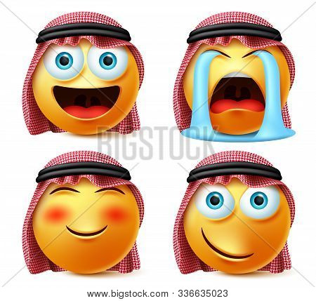 Saudi Arab Emoji Vector Set. Emojis And Emoticon Face Head Of Saudi Arabian In Crying With Tears, Bl