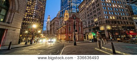 Banner Or Web Page Of Scene Of Boston Old State House Buiding At Twilight Time In Massachusetts Usa,