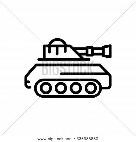 Black Line Icon For Tank  Army   Battle Vehicle Gulf Attack Fight Vehicle