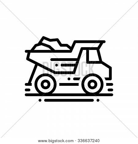 Black Line Icon For Construction_dump-truck  Dump Truck   Garbage-truck Quarry