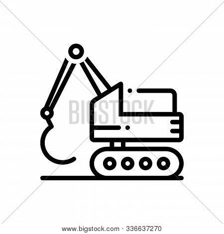 Black Line Icon For Construction_excavator  Construction Bulldozer  Backhoe  Digger