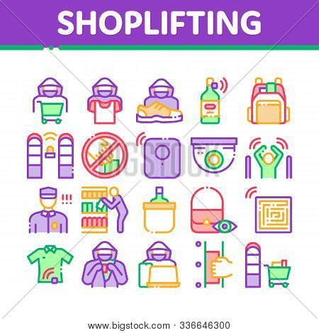 Shoplifting Collection Elements Icons Set Vector Thin Line. Video Camera And Guard Security From Sho