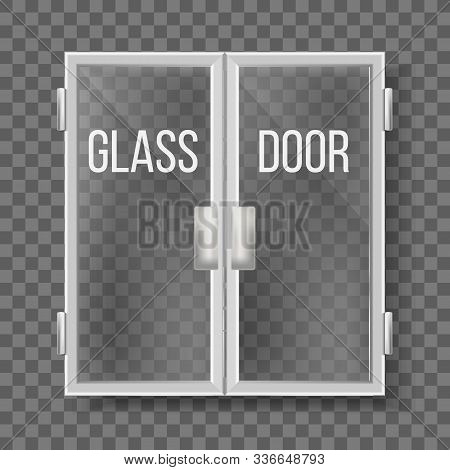 Glass Doors With Silver Handle And Frame Vector. Transparent Double Doors Central Front Entry To Com