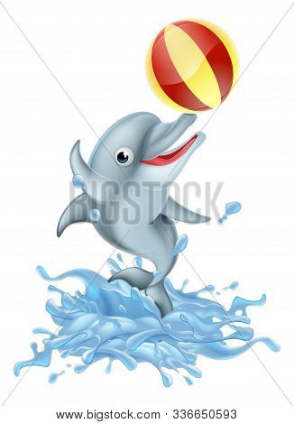 A Happy Cartoon Dolphin Playing With An Inflatable Ball Splashing Out Of The Water