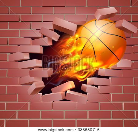 An Illustration Of A Burning Flaming Basketball Ball On Fire Tearing A Hole Through A Brick Wall