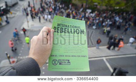 London, Uk - October 2019: International Rebellion Leaflet In London. Action. Climate Change Eco Pro